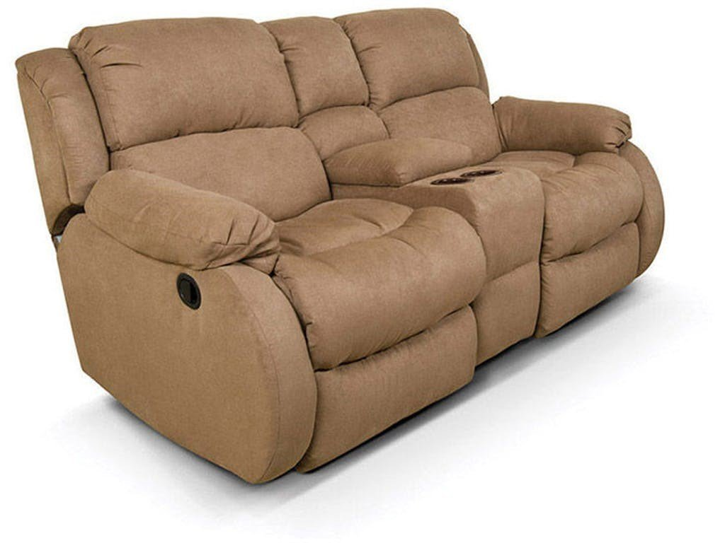 Reclining Loveseat with Console in tan color with plush bucket seats for comfort