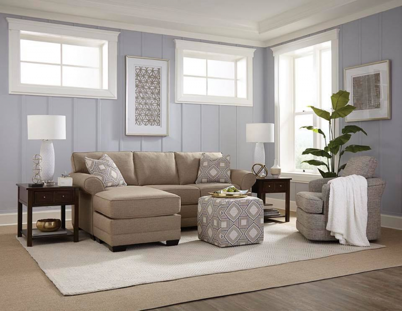 beige Wallace sofa by England Furniture in room with gray walls