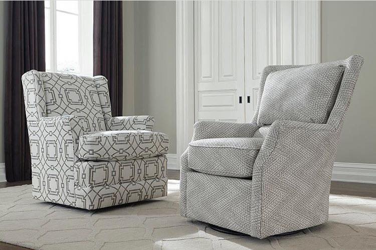 Black and white Loren and Valerie chairs by England Furniture in a gray and white room